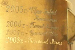 На боку латунного самовара Creyda появилась фамилия нового победителя сезона-2008