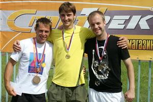 Победители Абсолютного разряда. Слева направо: Суворов Михаил (2 место), Борисенко Кирилл (1м), Шкурупий Роман (3 место)