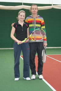 Андрей Меринов со своей воспитанницей Дашей Мироновой