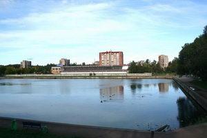 Школа Алексеева - фасадом на озеро, а сбоку - парк Сосновка